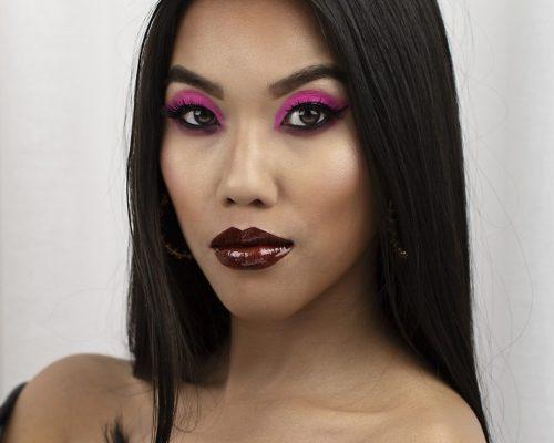 Makijaż wieczorowy o intensywnych kolorach wykonany w mieście Tychy